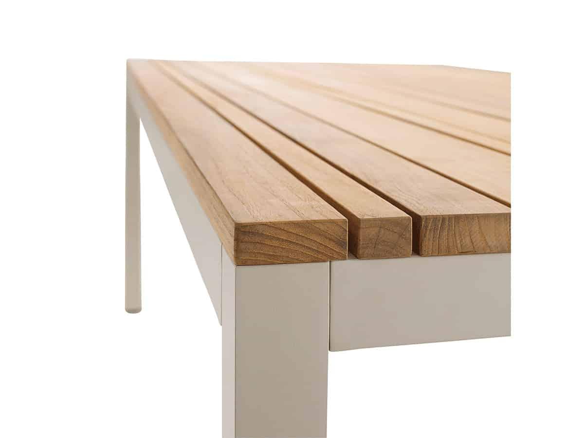 Classic Tisch Alu Dove Tischplatte Teak Detail 01