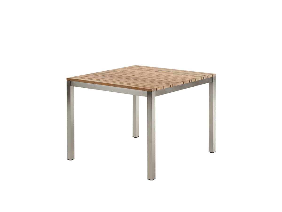 Classic stainless steel teak dining tisch solpuri for Tisch teak design